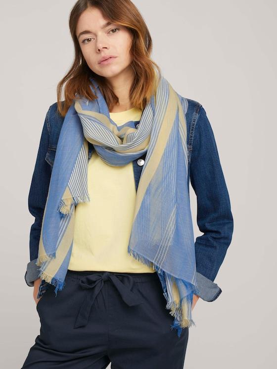 Fließender Schal mit Streifen - Frauen - creme yellow structured stripe - 5 - TOM TAILOR Denim