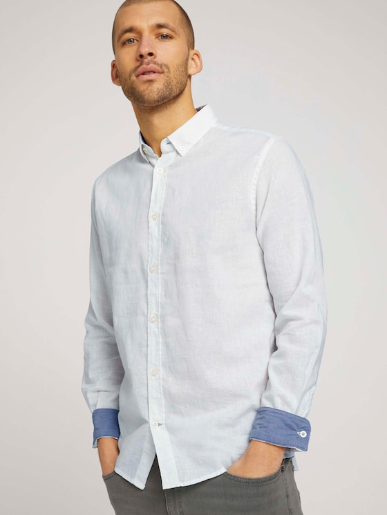 Leinen Hemd - Männer - Off White - 5 - TOM TAILOR