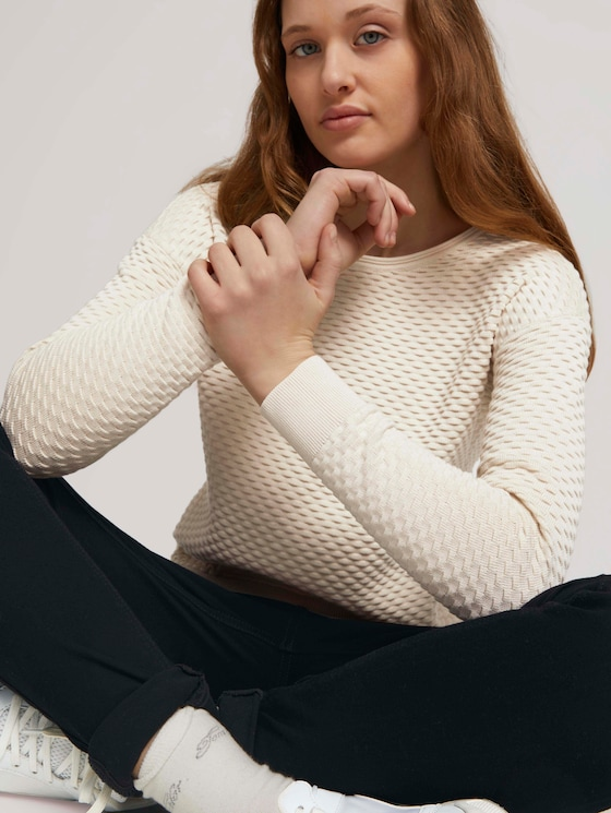 Pullover aus Bio-Baumwolle - Frauen - soft creme beige - 5 - TOM TAILOR Denim