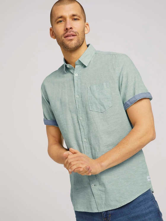 kurzärmliges Hemd - Männer - light mint green chambray - 5 - TOM TAILOR