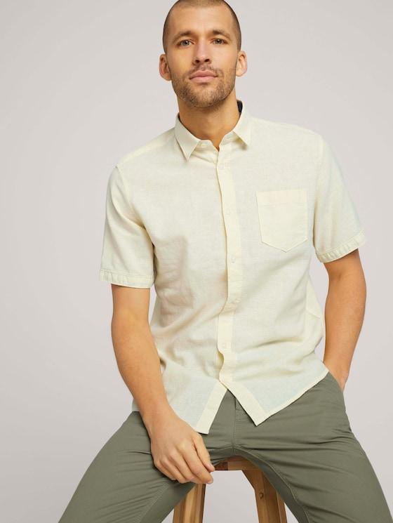 kurzärmliges Hemd - Männer - pale straw yellow chambray - 5 - TOM TAILOR