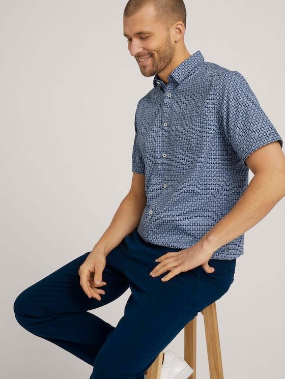 gemustertes Hemd - Männer - blue grey tonal minimal design - 5 - TOM TAILOR