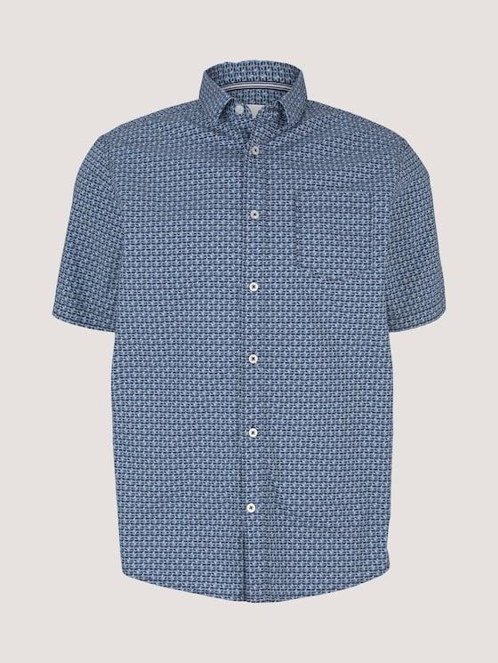 gemustertes Hemd - Männer - blue grey tonal minimal design - 7 - TOM TAILOR