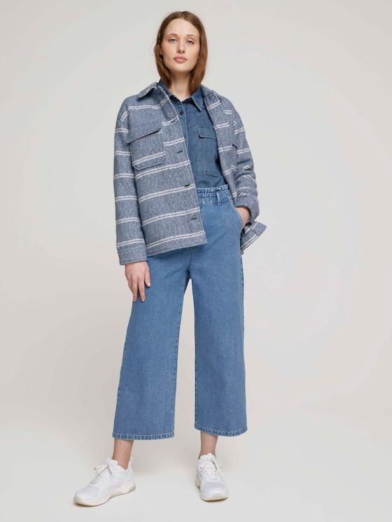 Culotte Jeans mit Paperbag-Taille - Frauen - Used Mid Stone Blue Denim - 3 - TOM TAILOR Denim