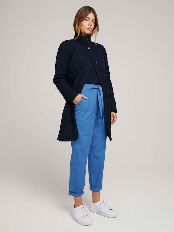 Tapered Stoffhose mit Paperbag-Taille - Frauen - mid blue - 3 - TOM TAILOR Denim