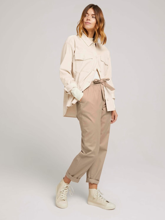 Tapered Stoffhose mit Paperbag-Taille - Frauen - dune beige - 3 - TOM TAILOR Denim