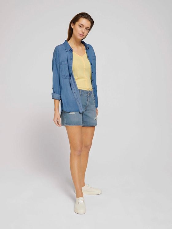 Cajsa Jeans Shorts mit Bio-Baumwolle - Frauen - Used Light Stone Blue Denim - 3 - TOM TAILOR Denim