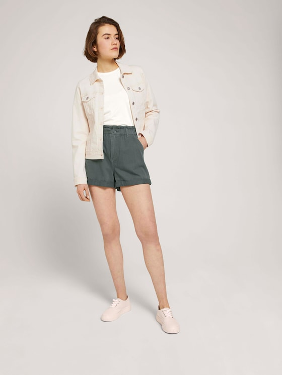Relaxed Paperbag Shorts - Frauen - dusty pine green - 3 - TOM TAILOR Denim