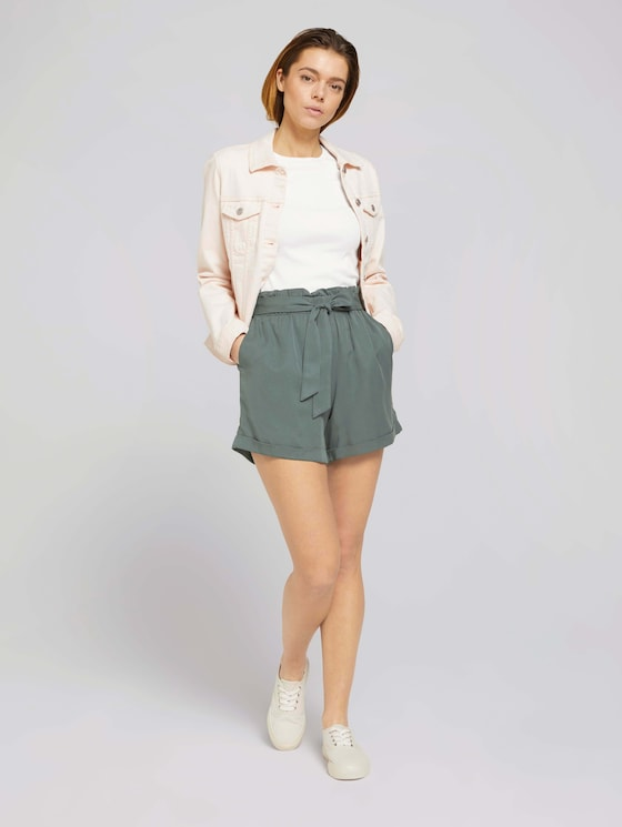 Weiche Relaxed Fit Shorts mit Lyocell   - Frauen - dusty pine green - 3 - TOM TAILOR Denim