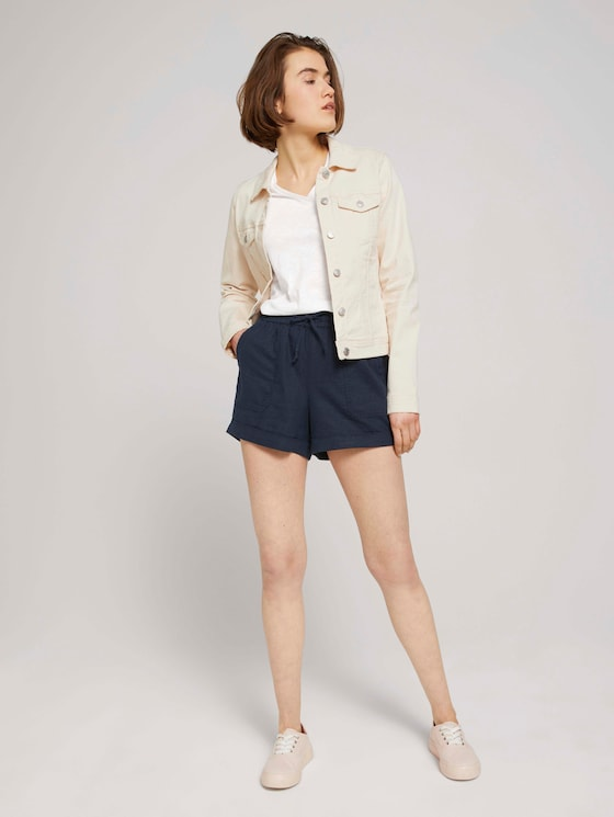 Relaxed Fit Shorts mit Leinen - Frauen - Sky Captain Blue - 3 - TOM TAILOR Denim