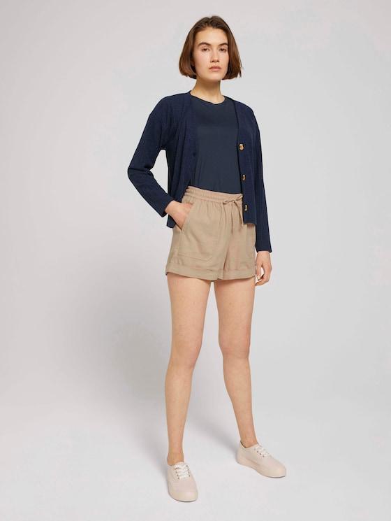 Relaxed Fit Shorts mit Leinen - Frauen - dune beige - 3 - TOM TAILOR Denim