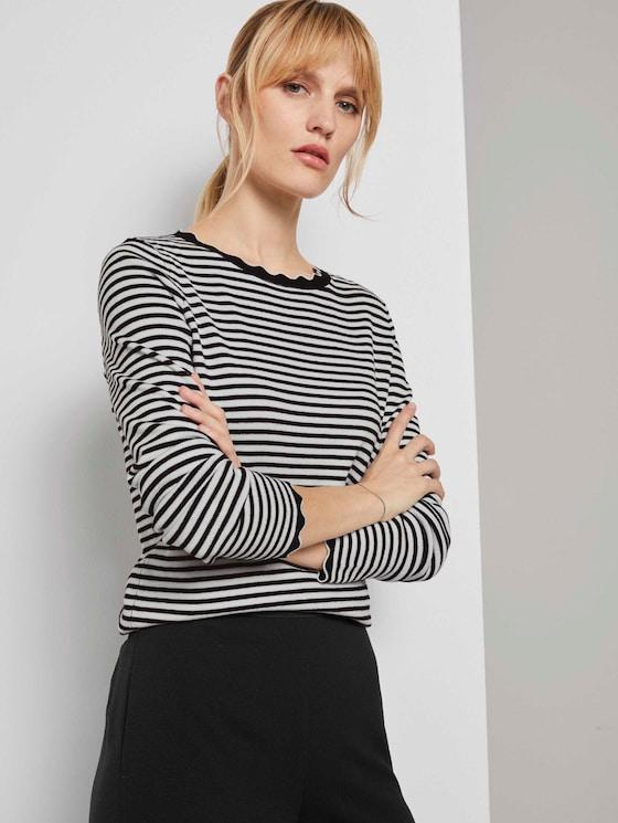 Strickpullover mit Muschelkragen - Frauen - black white stripe - 5 - TOM TAILOR