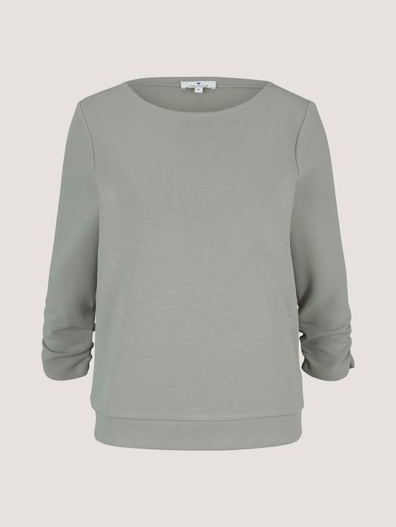 Sweatshirt mit Raffungen am Ärmel - Frauen - Prairie Grass Green - 7 - TOM TAILOR