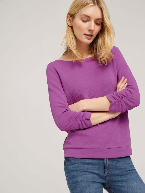 Sweatshirt mit Raffungen am Ärmel - Frauen - plum blossom lilac - 5 - TOM TAILOR