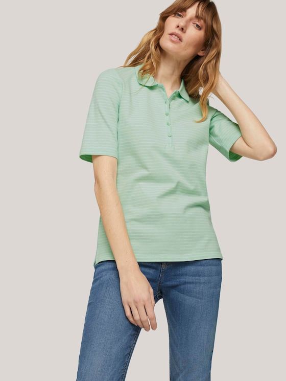 Basic Poloshirt - Frauen - mint offwhite stripe - 5 - TOM TAILOR