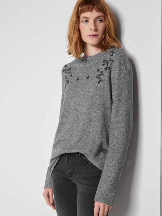Gevlekt Sweatshirt met borduurwerk - Vrouwen - alloy grey melange - 5 - TOM TAILOR