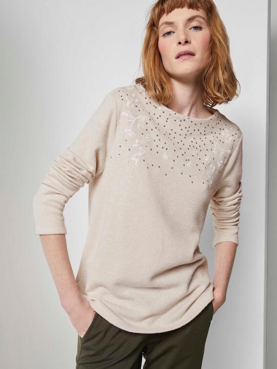 Meliertes Sweatshirt mit Stickereien - Frauen - desert sand melange - 5 - TOM TAILOR