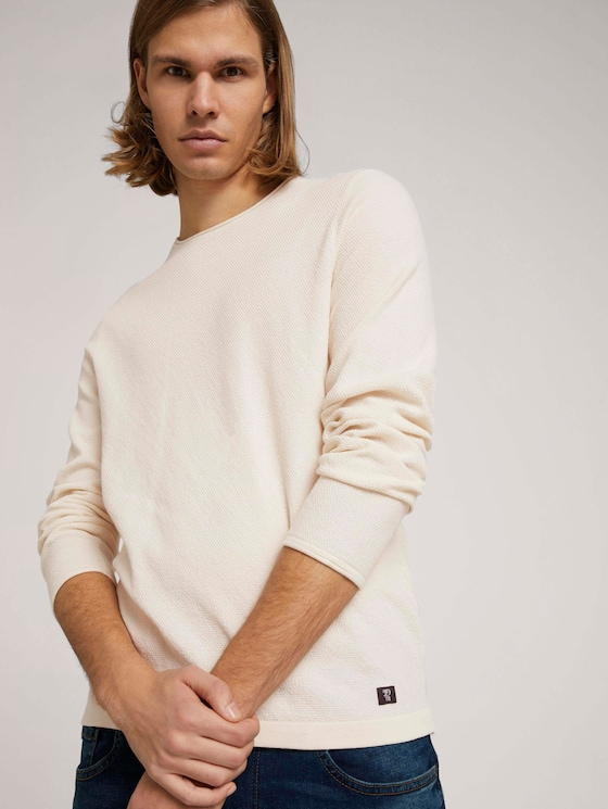 strukturierter Pullover - Männer - Soft Beige Solid - 5 - TOM TAILOR Denim