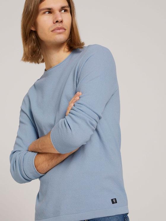 strukturierter Pullover - Männer - Foggy Blue - 5 - TOM TAILOR Denim