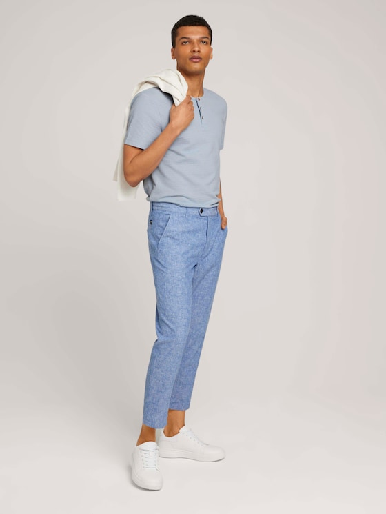 Relaxed Chino mit Leinen - Männer - blue non solid - 3 - TOM TAILOR Denim