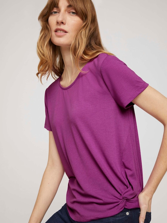 T-Shirt mit Saumdetail - Frauen - plum blossom lilac - 5 - TOM TAILOR