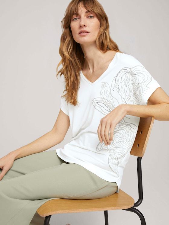 Print T-Shirt mit LENZING™ ECOVERO™ - Frauen - Whisper White - 5 - TOM TAILOR
