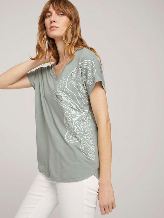 Print T-Shirt mit LENZING™ ECOVERO™ - Frauen - Prairie Grass Green - 5 - TOM TAILOR