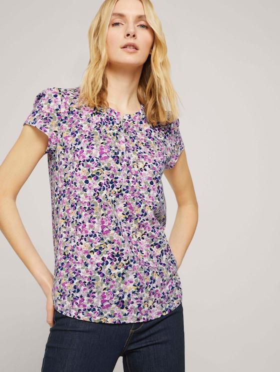 Henley T-Shirt mit Raffungen - Frauen - offwhite floral design - 5 - TOM TAILOR