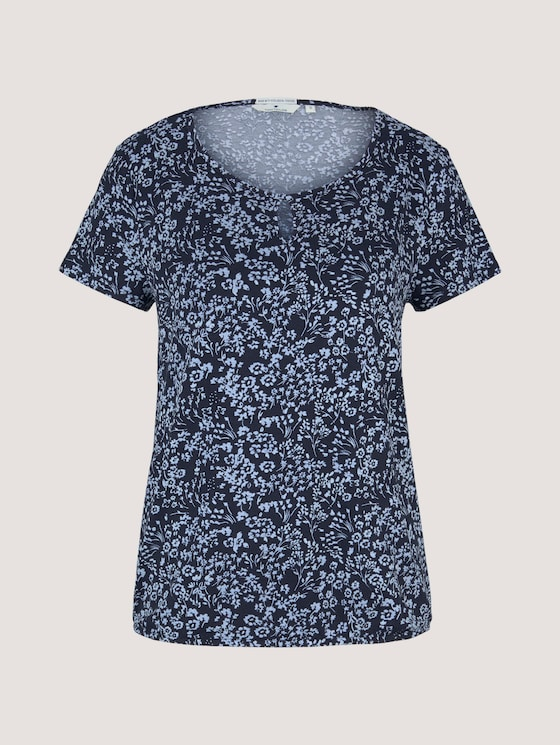 Gemustertes T-Shirt mit elastischem Bund - Frauen - navy flower design - 7 - TOM TAILOR