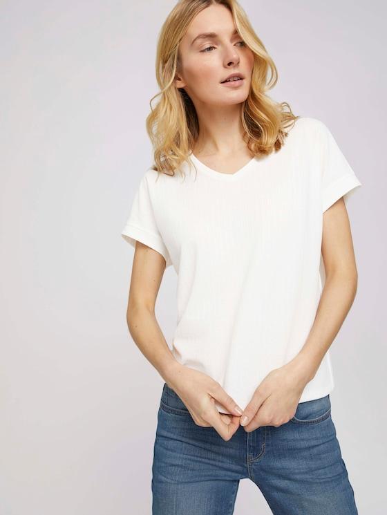 Strukturiertes T-Shirt mit V-Ausschnitt - Frauen - Whisper White - 5 - TOM TAILOR
