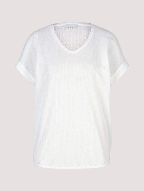 Strukturiertes T-Shirt mit V-Ausschnitt - Frauen - Whisper White - 7 - TOM TAILOR