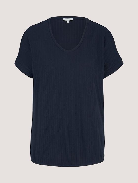 Strukturiertes T-Shirt mit V-Ausschnitt - Frauen - Sky Captain Blue - 7 - TOM TAILOR