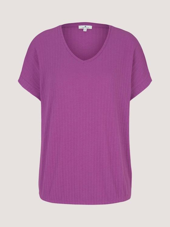 Strukturiertes T-Shirt mit V-Ausschnitt - Frauen - plum blossom lilac - 7 - TOM TAILOR