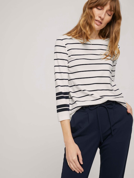 Gestreiftes 3/4 Arm Shirt mit Bio-Baumwolle - Frauen - navy irregular stripe - 5 - TOM TAILOR