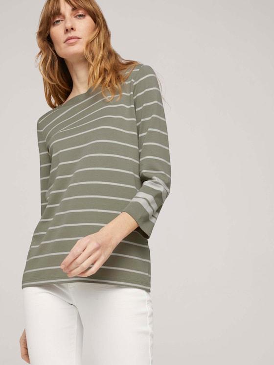 Gestreiftes 3/4 Arm Shirt mit Bio-Baumwolle - Frauen - green irregular stripe - 5 - TOM TAILOR