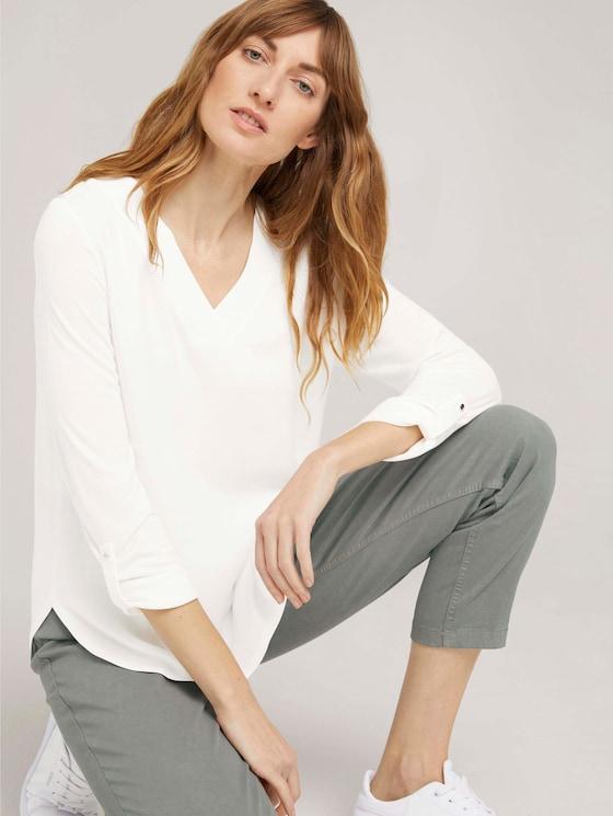 Langarmshirt mit V-Ausschnitt im Materialmix - Frauen - Whisper White - 5 - TOM TAILOR