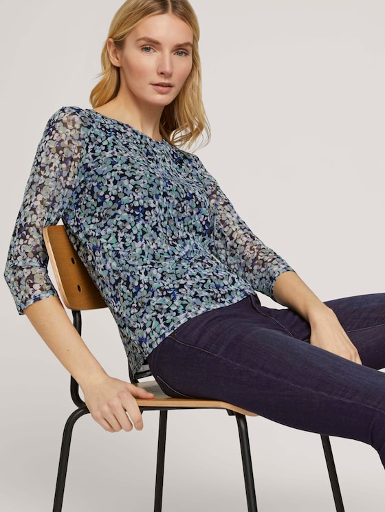 Gemustertes Mesh Shirt - Frauen - navy floral design - 5 - TOM TAILOR
