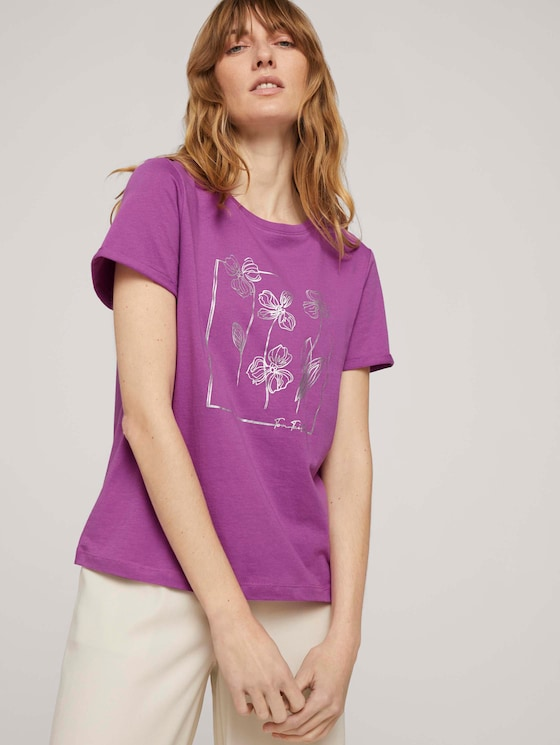 T-Shirt mit Bio-Baumwolle - Frauen - plum blossom lilac - 5 - TOM TAILOR