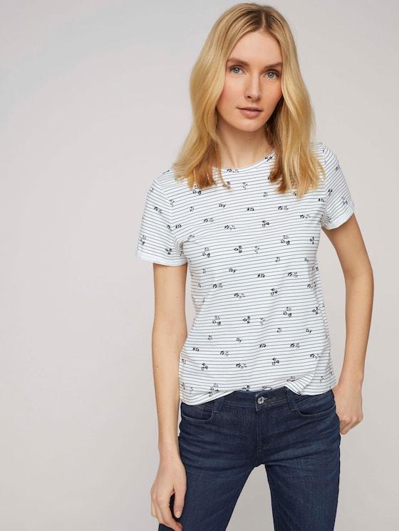 T-Shirt aus Bio-Baumwolle - Frauen - offwhite stripe flower design - 5 - TOM TAILOR