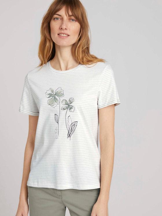 Gestreiftes T-Shirt mit Bio-Baumwolle - Frauen - aral blue white stripe - 5 - TOM TAILOR