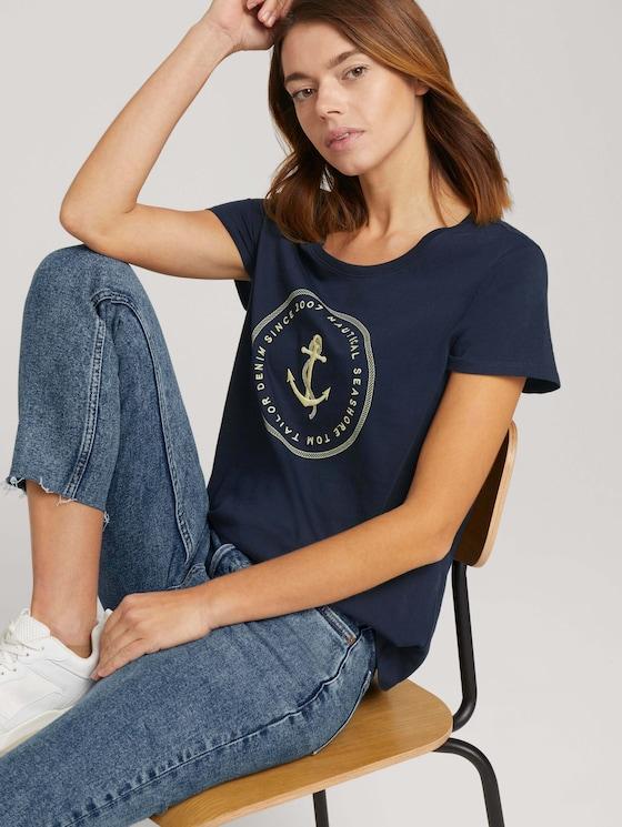 Print T-Shirt mit Bio-Baumwolle - Frauen - Sky Captain Blue - 5 - TOM TAILOR Denim