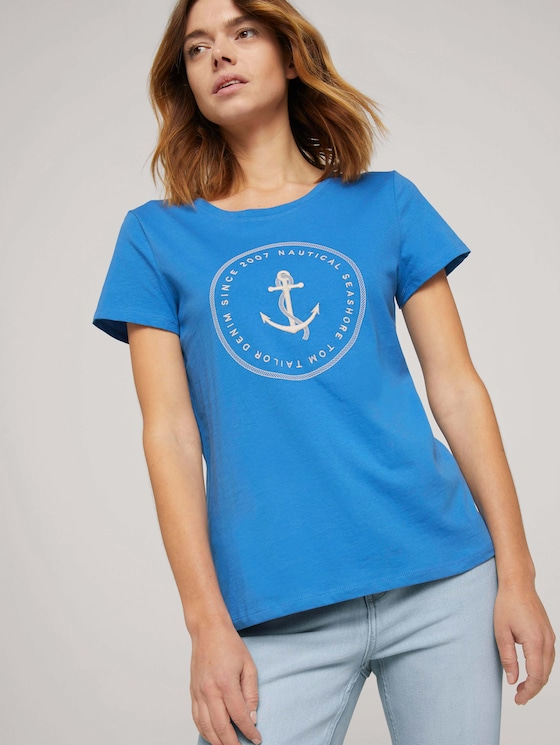 Print T-Shirt mit Bio-Baumwolle - Frauen - mid blue - 5 - TOM TAILOR Denim