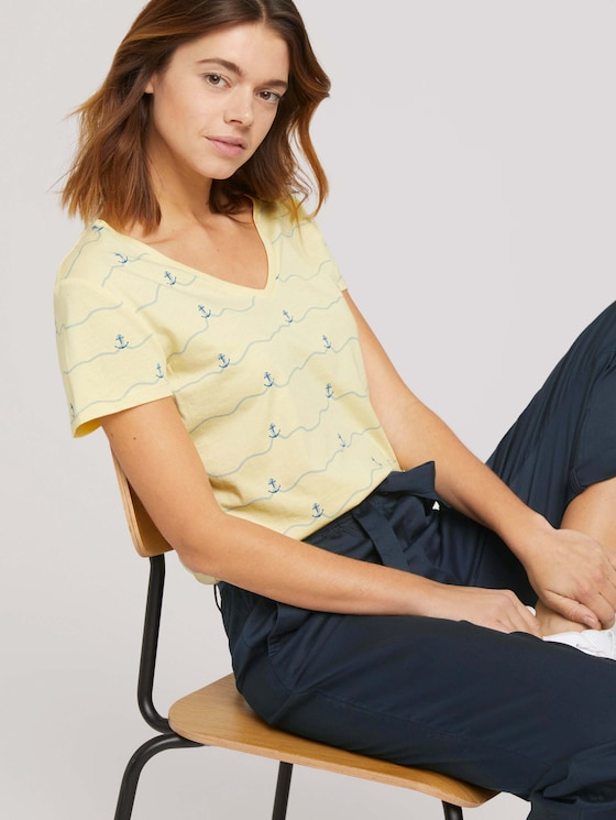 T-Shirt mit Bio-Baumwolle - Frauen - yellow stripe anchor - 5 - TOM TAILOR Denim