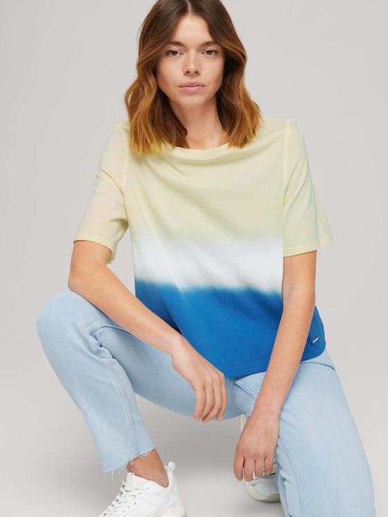 Cropped T-Shirt mit Farbverlauf - Frauen - yellow blue dip dye - 5 - TOM TAILOR Denim