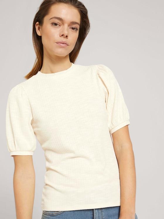 Ripp T-Shirt mit Ballonärmeln - Frauen - soft creme beige - 5 - TOM TAILOR Denim