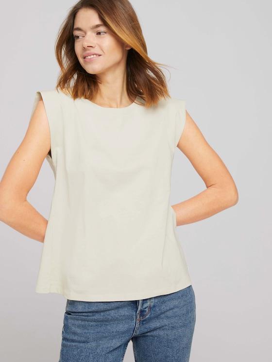Ärmelloses Shirt mit weiten Schultern - Frauen - soft creme beige - 5 - TOM TAILOR Denim