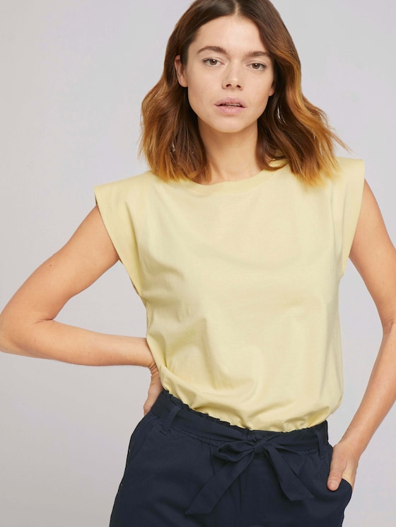 Ärmelloses Shirt mit weiten Schultern - Frauen - soft yellow - 5 - TOM TAILOR Denim