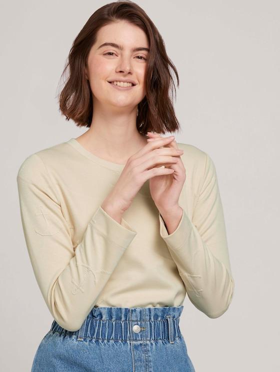 Strukturiertes Sweatshirt - Frauen - soft creme beige - 5 - TOM TAILOR Denim