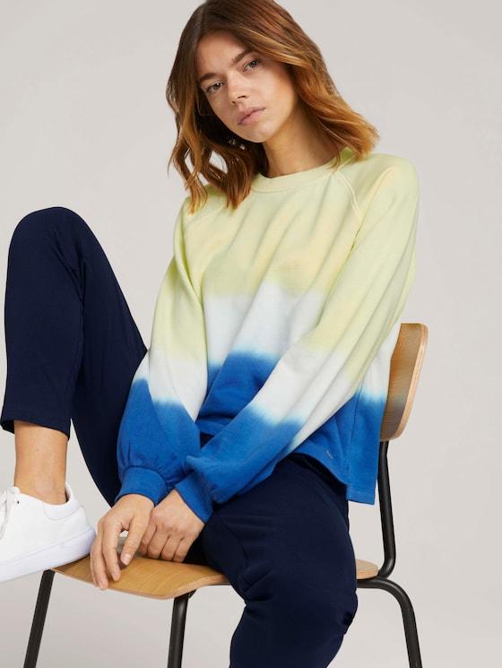 Cropped Sweatshirt mit Farbverlauf - Frauen - yellow blue dip dye - 5 - TOM TAILOR Denim