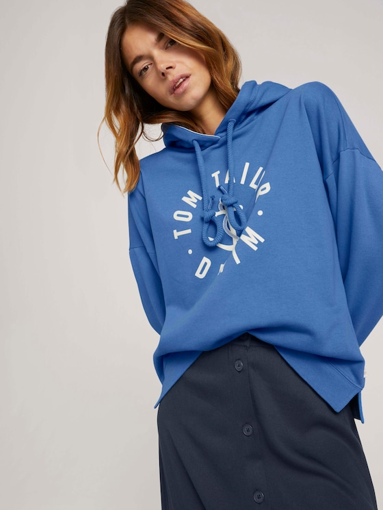 Oversized Hoodie mit Print - Frauen - mid blue - 5 - TOM TAILOR Denim